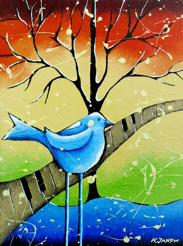 blue bird painting original whimsical folk wall  hjmartgallery