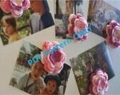 PDF CROCHET PATTERN - Set of Five Crocheted Pink Flowers Refrigerator Magnets