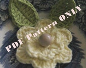 PDF CROCHET PATTERN - Organic Cotton Crochet Flower Set with Leaves in Lemon and Lime colors