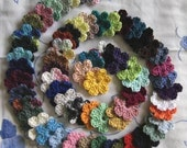 Set of 62 Multicolor Small Crochet Applique Flowers