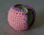 Handmade Crocheted Apple Cozy in Peach and Lilac