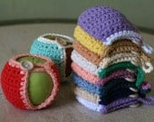 Handmade Crocheted Apple Cozy in Natural and Blue
