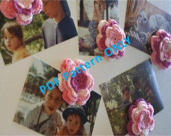 PDF CROCHET PATTERN - Set of Five Crocheted Pink Flowers Refrigerator Magnets