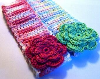 Green crochet headband with flower for infant or toddler