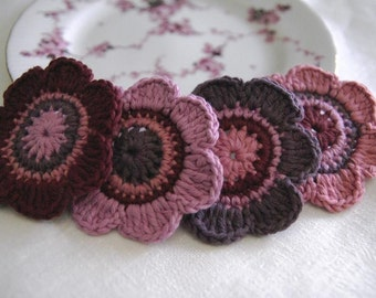 Set of 4 pcs Organic Cotton Crochet Flower Appliques in Amethyst, Garnet, Raspberry and Guava