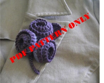 PDF CROCHET PATTERN - Organic Cotton Crochet Flower Brooch in Amethyst Color