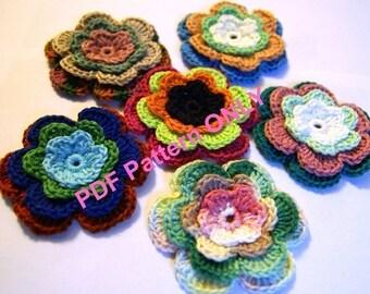 PDF CROCHET PATTERN - Set of crocheted applique multicolor flowers