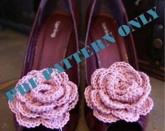 PDF CROCHET PATTERN - Vintage Style Crocheted Flower Shoe Clips In Pink
