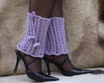Crochet Lilac Leg Warmers