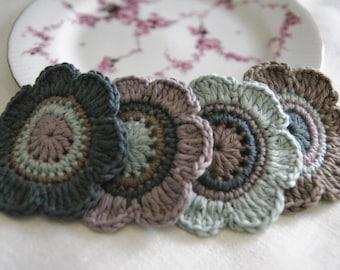 Set of 4 pcs Organic Cotton Crochet Flower Appliques in Slate, Malachite, Soft Heather and Silver Fern