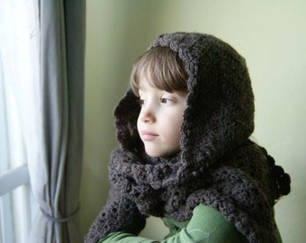 Brown Crocheted Hat-Scraf/ Neckwarmer With Tassel
