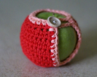 Handmade Crocheted Apple Cozy in Red and Pink