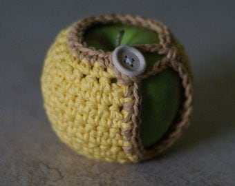 Handmade Crocheted Apple Cozy in Yellow and Mocha