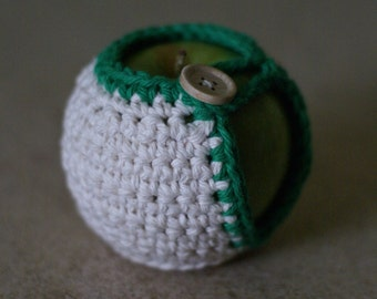 Handmade Crocheted Apple Cozy in White and Green