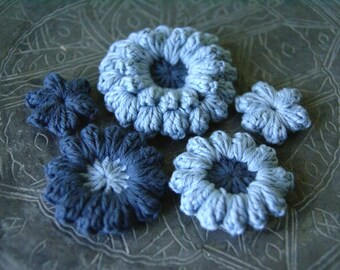 Set of 5 pcs Organic Cotton Crochet Flower Appliques in Sky Blue and Blue