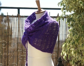 Purple Crochet Neckwarmer / Cowl