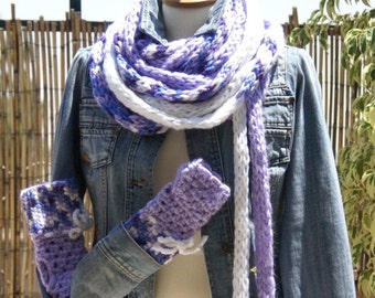 Very long Scarf knitted in the technician - Tricotin and crocheted Fingerless Gloves