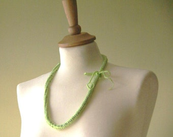 One crocheted strand with beads in Green (OR Blue). Can be as necklace or braslet