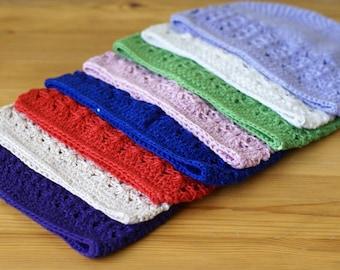 Newborn 0-3 Months Purple handmade crochet baby hat