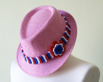 Patriotic 4th of July Pink Cotton Fedora Style Hat With Crocheted Red White and Blue Addition