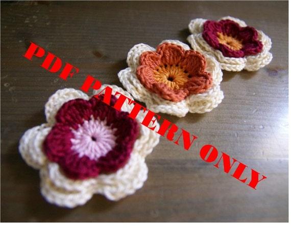 PDF CROCHET PATTERN - Set of 3 crocheted applique three-colors flowers
