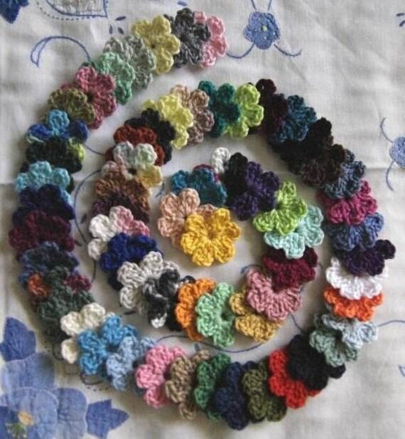 Set of 62 Multicolor Small Crochet Applique Flowers