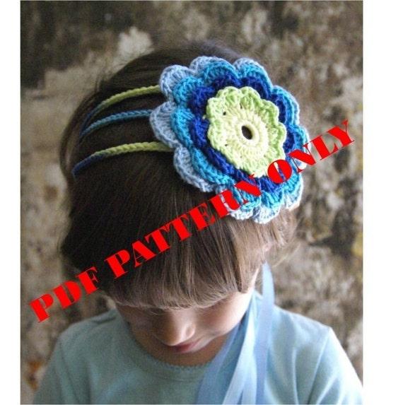 PDF CROCHET PATTERN - Crochet Flower Headband