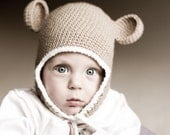 Monkey Baby Ear Flap Hat Choose size Newborn-Toddler  MADE TO ORDER