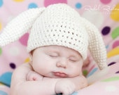Bunny Baby Hat  MADE TO ORDER Choose size Newborn to Toddler