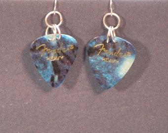 sale sale sale FENDER HEAVY DUTY  turquoise guitar pick sterling silver earrings