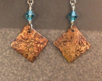 capri blue SWAROVSKI CRYSTAL with COPPER drop and dangle sterling silver earrings