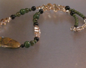 moss agate, nephrite jade, onyx and swarovski crystal beaded sterling silver necklace.