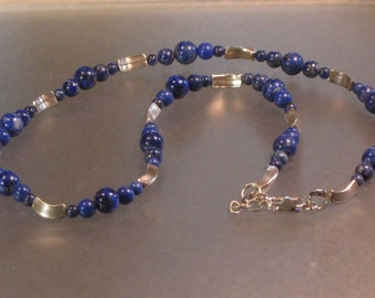 lapis grade a and hill tribes silver sterling silver necklace