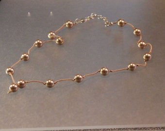 "swarovski bronze pearl ""stations"" knotted silk floating bead necklace"