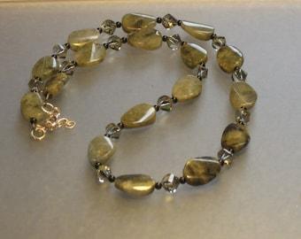 LABRADORITE ONYX  SWAROVSKI crystal sterling silver necklace