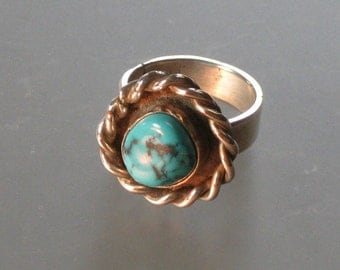 HEFTY blue TURQUOISE and sterling silver RING