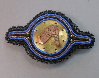 """3"""" genuine made in france BEST QUALITY METALWORK  and seed bead hair barrette"""