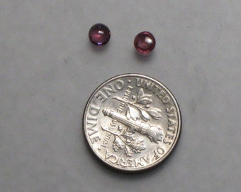 pair 3.8 mm ruby round cabochons 1