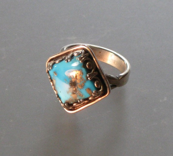 LARGE morenci turquoise sterling silver ring