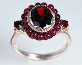 Deep Red Garnet Bead Ring - in recycled silver