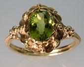Green Peridot and 14K Gold Filigree Ring