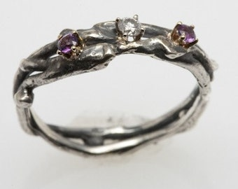 Amethyst and Diamond Recycled Silver Ring