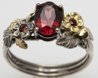 Garnet Engagement Ring - in recycled silver and 18K gold