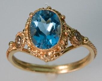 Blue Topaz and 14K Gold Ring w/ Diamonds