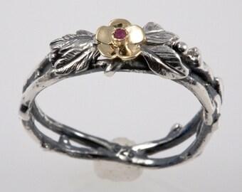 Ruby Gold Flower Ring