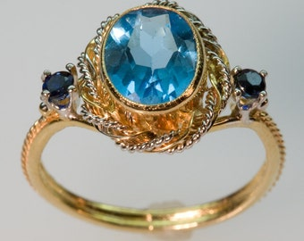 Shades of Blue Ring - in 14K Gold