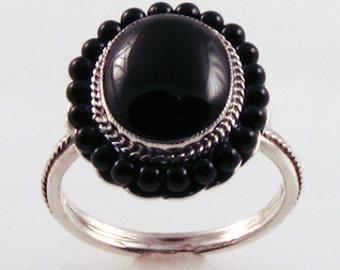 Basic Black Onyx Bead Ring - in silver
