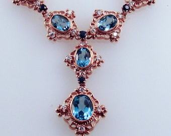 Blue Topaz & Sapphire 14K Gold Necklace