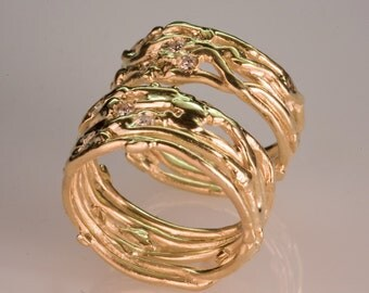 Recycled Gold Wedding Band Set - Women's and Men's Wedding Band