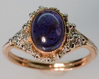 Deep Purple-Blue Iolite Ring - in 14K Gold